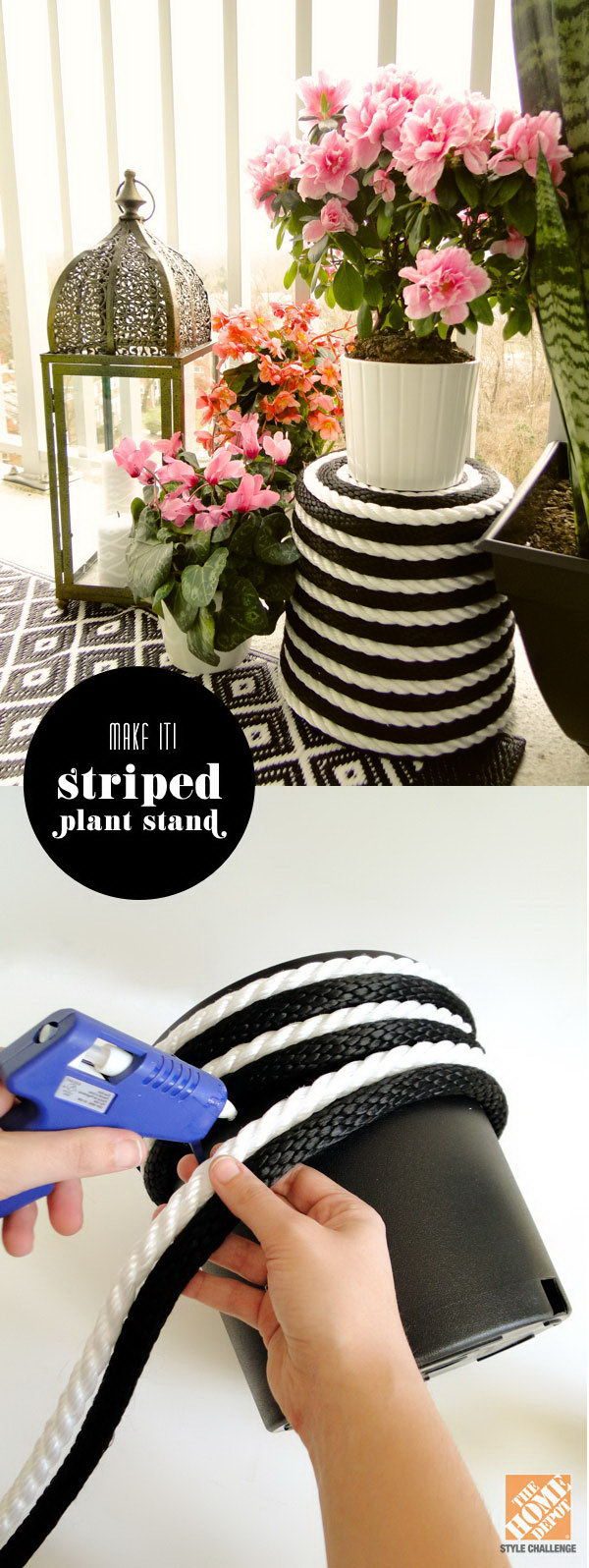 Black and white Rope wrapped plant stand. Start at the lip of the pot using hot glue along the way and finishing it up with a nice little spiral into the center of the bottom. This project is super easy to make and turns out to a perfect decor of your patio.