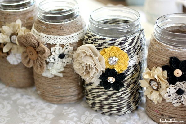 DIY Table Centerpiece with Rope and Mason Jars.