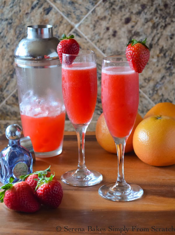 Strawberry Grapefruit Mimosas Cocktail