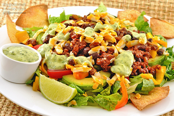 Taco Salad with Avocado Cilantro Dressing