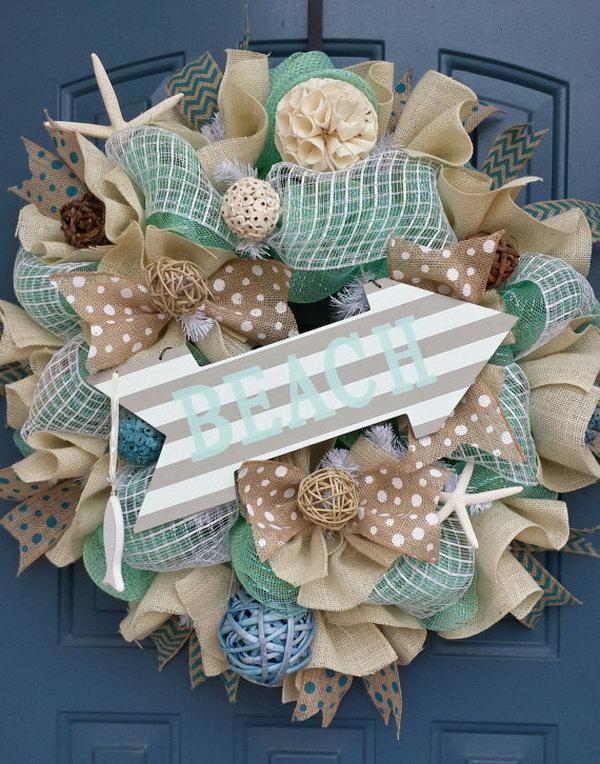 summer decor mesh wreath - Wreath Ideas