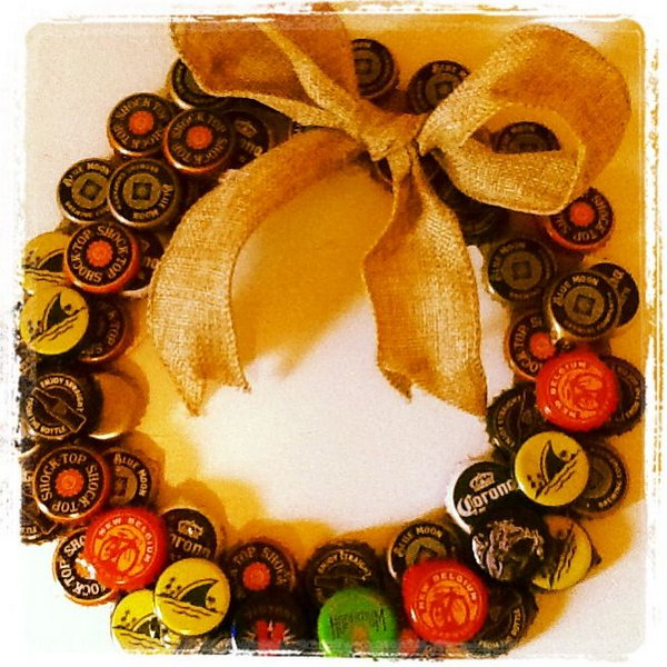 Beer Cap Wreath. It's a creative idea to make this beer cap wreath for your beer tasting party.