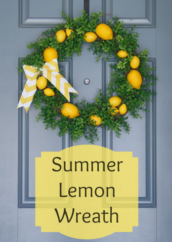Summer Lemon Wreath. Lemons add a pop of summery color to this front door. It completely brightens and refreshes your whole porch. See how to make it