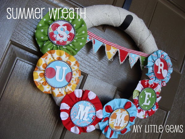 Burlap and Fabric Summer Wreath. This burlap and fabric wreath with letters of