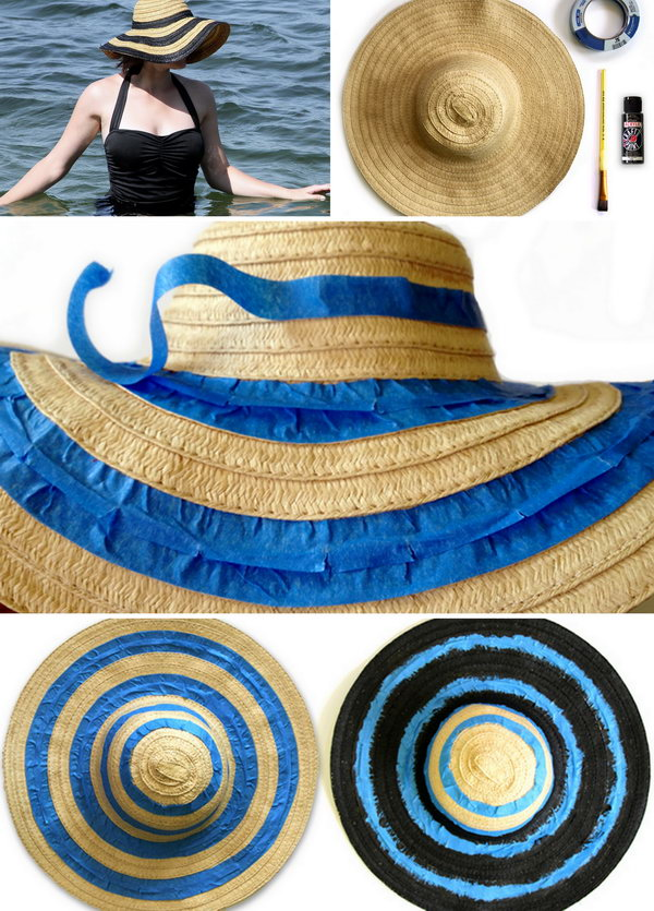 DIY Striped Floppy Hat. The black stripped hat has been classic and you never can't go wrong with this one. See the tutorial here.