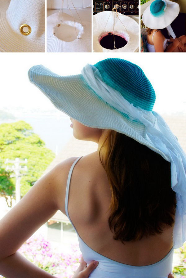 Dip Dye an Ombre Sun Hat. Wonderful transformation. Learn the tutorial here.