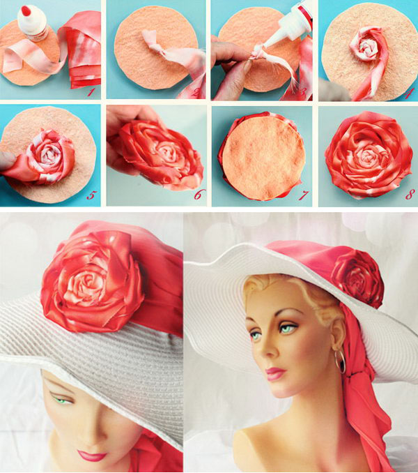 DIY Rolled Fabric Flowers Floppy Hat. This is a little exaggerated for daily time. But it goes great with a swimsuit for me. See the how to here.