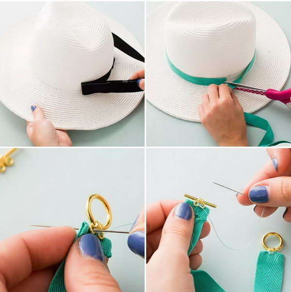 DIY Jeweled Belt Floppy Hat. The idea changing the black belt to a teal belt with a gem on it is so lovely. Check out the easy to do tutorial here.
