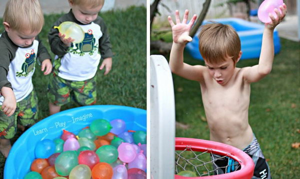 Water Balloon Basketball. Set up the basketball hoop and bracket. Some kids may toss the balloons from far away, others prefer to go for the slam dunk. Boys may enjoy this game the most as basket ball fans.