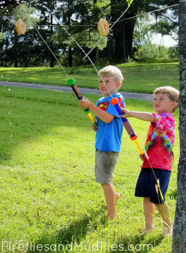 Water blaster games. What could be more fun than a friendly game of war at home with your kids? Buy some classic water blasters and let the game begin.