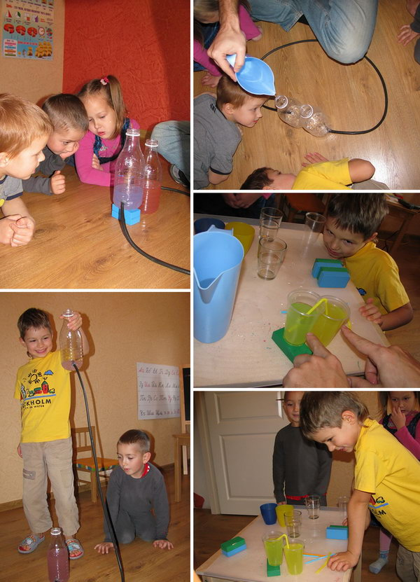 Communicating vessels game. Make mini versions of the communicating vessels. Promote capabilities like logic, fluency, variability of thinking and verbal intelligence at the same time when the kids get great fun.