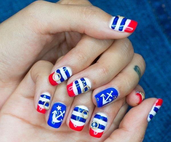 20 Beautiful Patriotic Nautical Nail Art Ideas Hative