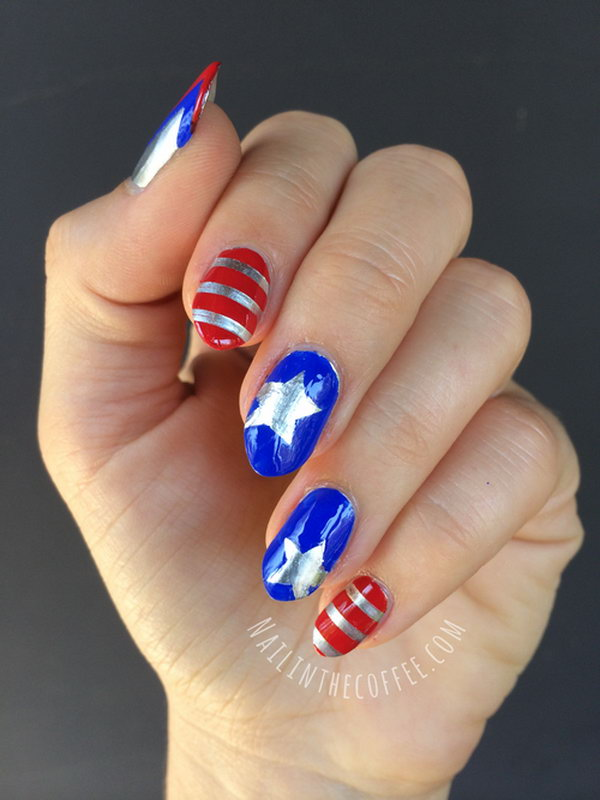 Action Hero 4th of July Stiletto Nails: Pretty fun and cute captain America themed 4th of July nail art. I'm in love with it. Have a look at the tutorial here.