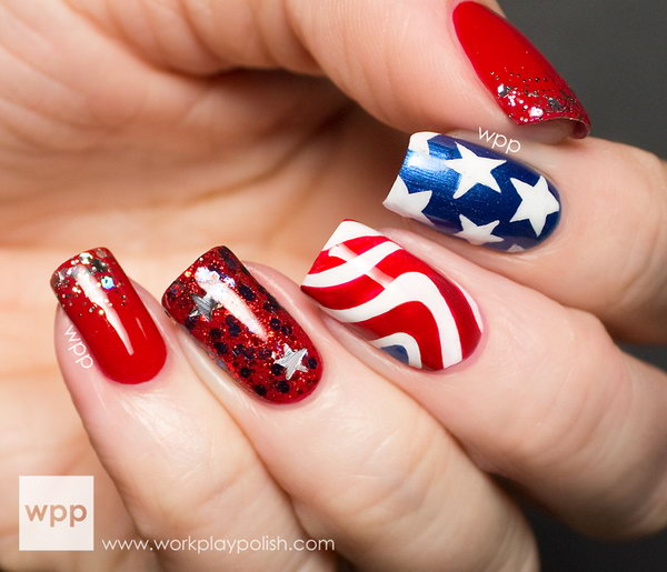 Stars and Stripes 4th of July Nail Art: What an awesome idea. The galaxy nails set and the red gradient really make the whole thing pop. See the tutorial here.