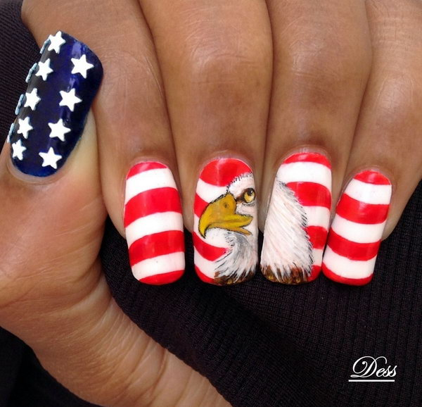 American Eagle, Stars and Stripes 4th of July Nail Art: Play with the  country's - Country Flag Nail Art - NailArts Ideas
