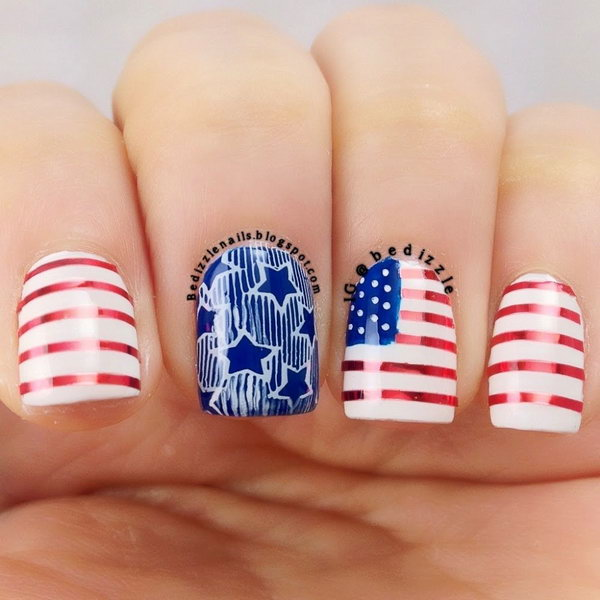 American Flag inspired Short Nails: This July 4th Nail is a clean, fancy way - 30+ American Flag Inspired Stripes And Stars Nail Ideas & Tutorials