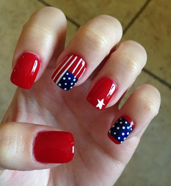 American Flag inspired Nail Art on Red Basecoats: To show your bloody  pride, what - 30+ American Flag Inspired Stripes And Stars Nail Ideas