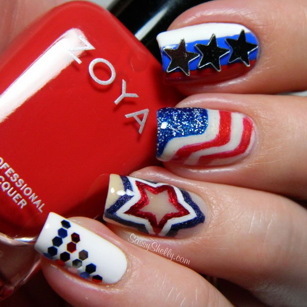 Patriotic All Accent American Flag Nails: Every single detail of this great  nail is impressive - 30+ American Flag Inspired Stripes And Stars Nail Ideas & Tutorials