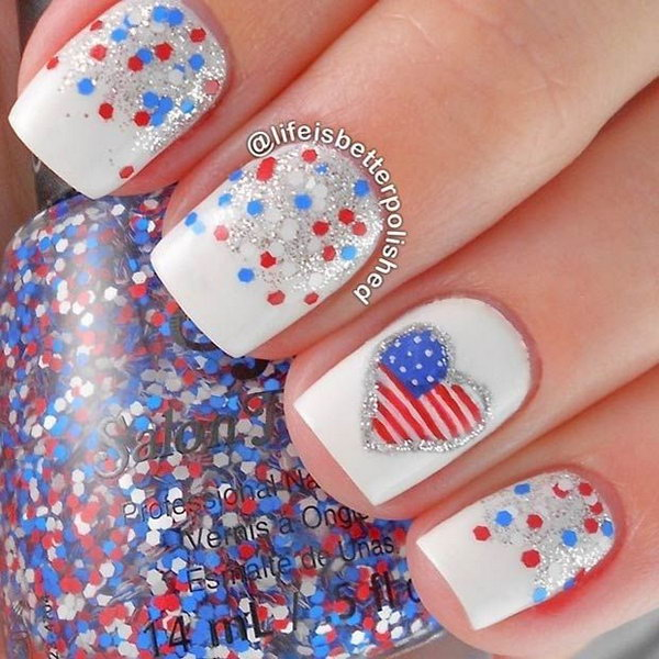 Red, White and Blue Nail Design + Flag Accent Nail. - 30+ American Flag Inspired Stripes And Stars Nail Ideas