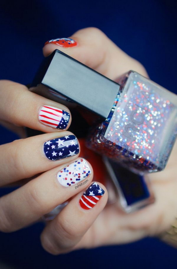American Flag Nail Art: If you would not make stripes on all of your nails - 30+ American Flag Inspired Stripes And Stars Nail Ideas & Tutorials