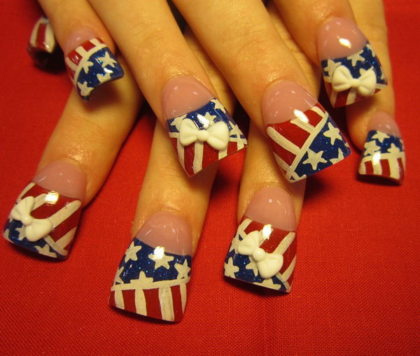 4th of July Stars and Stripes Nails with 3D Bows