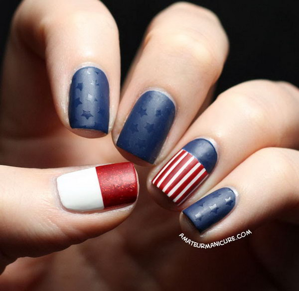Stars and Stripes Matte Nails: See more details here.