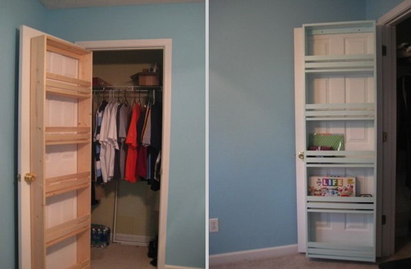 Add a Closet Door Shelf & 40+ Clever Closet Storage and Organization Ideas - Hative