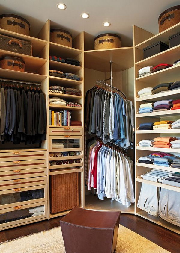 Storage Go Round for Corner Unit & 40+ Clever Closet Storage and Organization Ideas - Hative