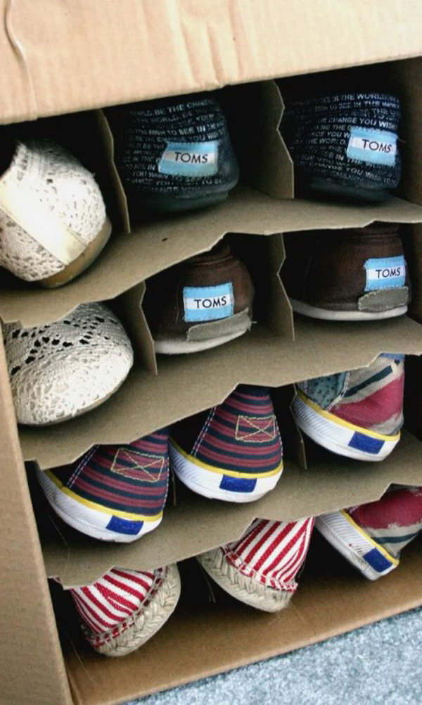 Wine Box Shoe Organization