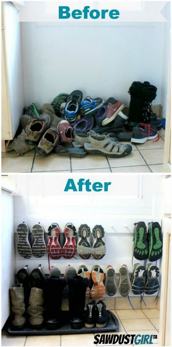 Use Coat Racks to Organize Shoe Storage