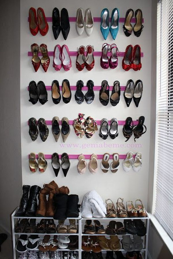 40 clever closet storage and organization ideas hative - Shoe organizer for small space paint ...