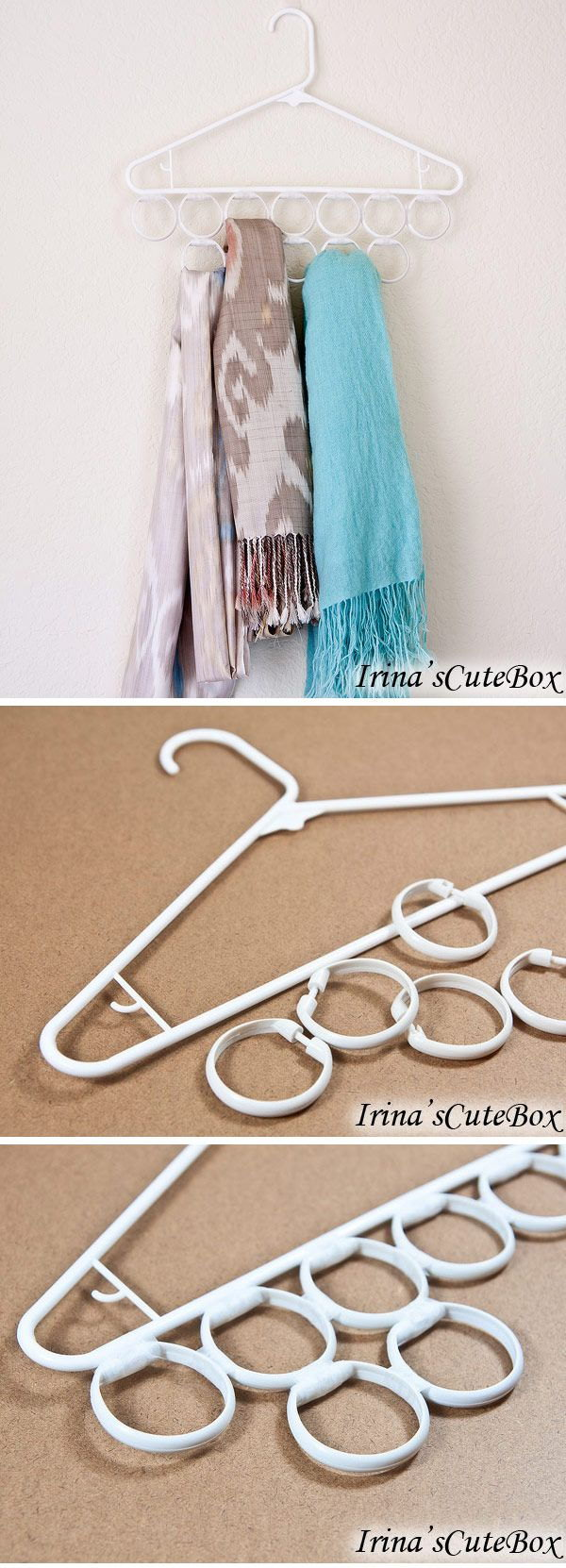 Inexpensive Scarves Holder Made out of a Hanger and Shower Curtain Rings & 40+ Clever Closet Storage and Organization Ideas - Hative