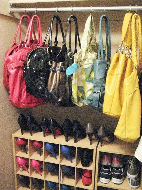 Use Hooks To Hang Up Your Purses In Your Closet