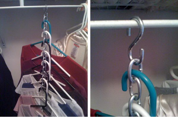 Use S Hooks And Chains To Hang Multiple Garments