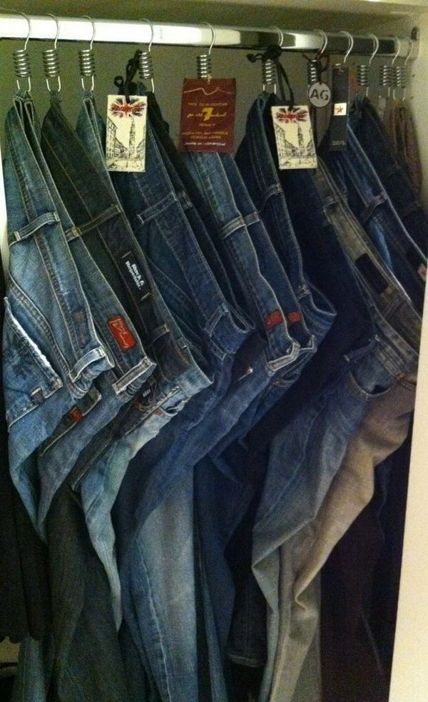 Hang Your Jeans on Shower Hooks from the Belt Loops