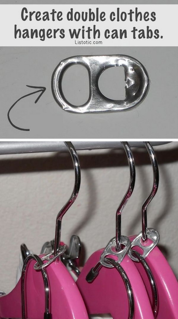 DIY Double Clothes Hangers Using Soda Can Tabs