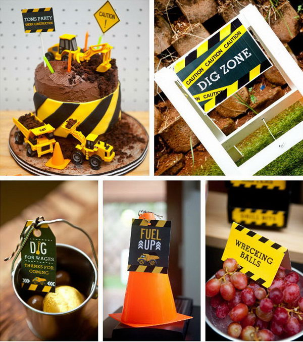 Awesome Food Labels and Tags: With fun 'construction names' for all food, this birthday party has a lot of fun.