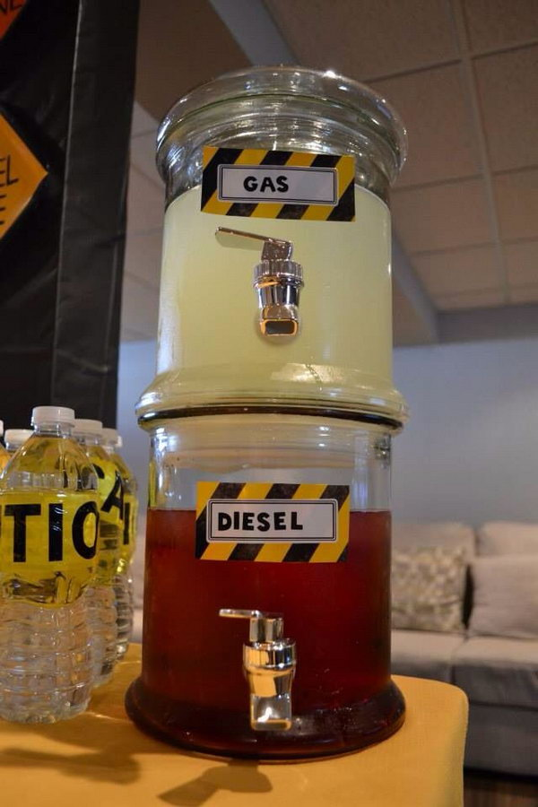 Construction Party Drink Ideas: The glass bottle with the gas and diesel tag on it is very great idea and fitting the theme very much.