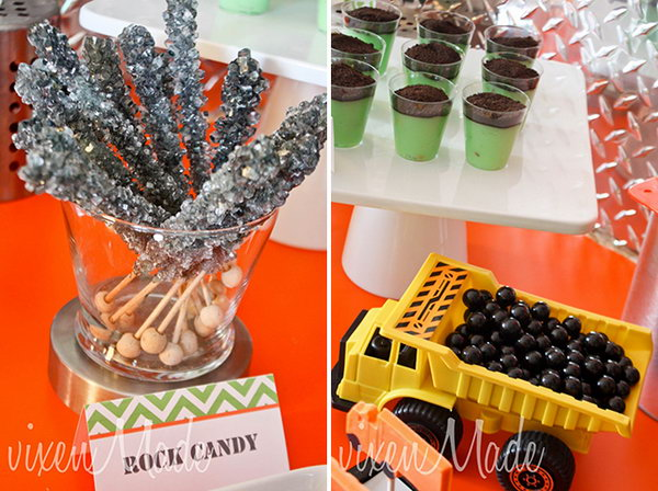 Rock Candy, Black Aniseed Candies in the Dump Truck and Pistachio Pudding Cups Topped with Oreo