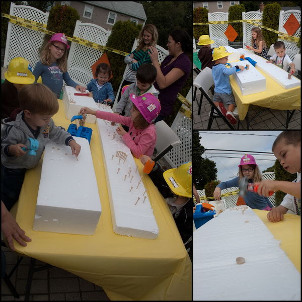 Construction Birthday Party Activities: Hammer time. The kids really love that hammer game and they can keep playing for a long time.