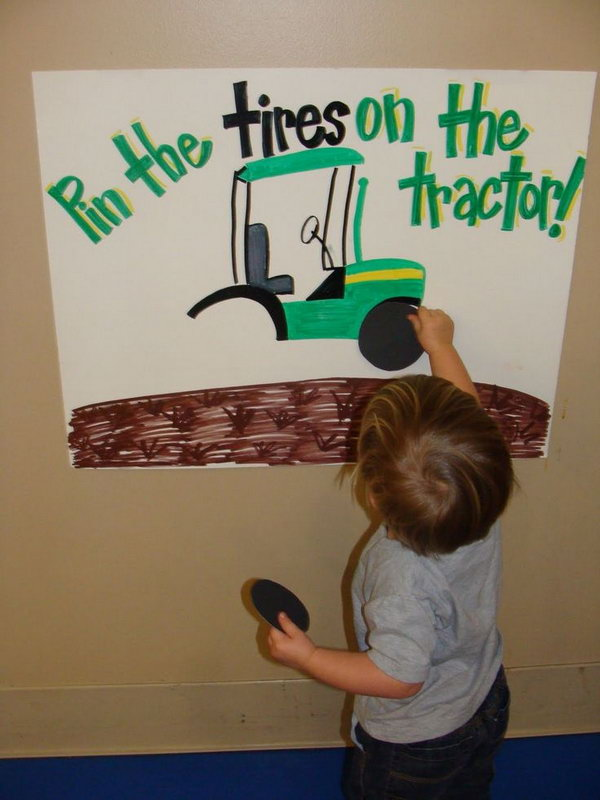 Pin the Tires on the Tractor Game: Birthday Party games are necessary for the never want to sit still babies, try this one to keep them busy.