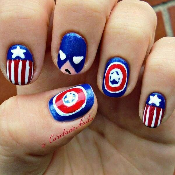 Patriotic Captain America Nail Art