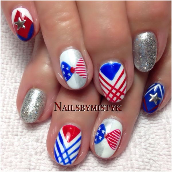 Patriotic Different Patterns Nails Design