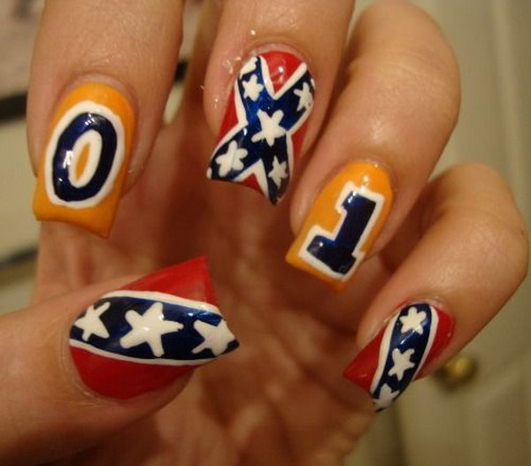 Patriotic Soccer Long Nail Art