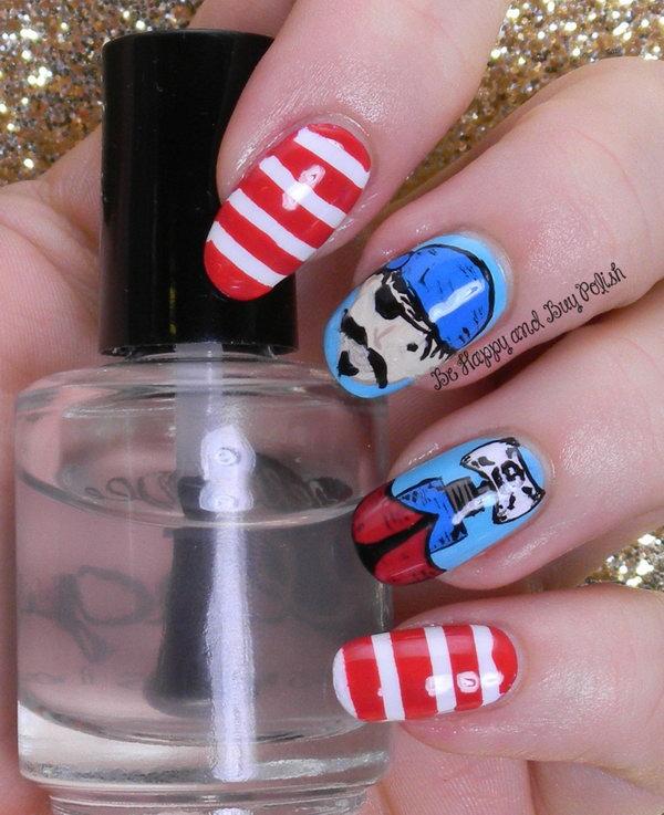 Patriotic Pirate Nail Art