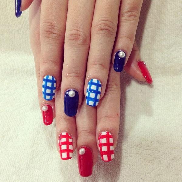 Patriotic Cute Long Nail Art