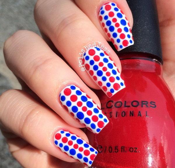 36 cute 4th of july patriotic nail art ideas hative patriotic cute dots long nails design prinsesfo Gallery