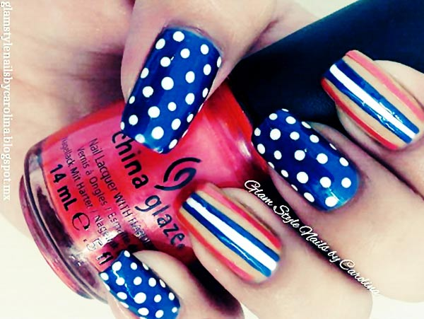 Patriotic Blue Red White Striped Dotted Nail Art
