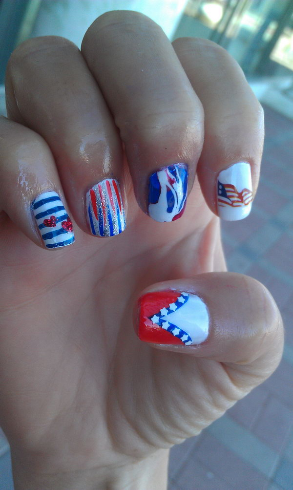 Patriotic Cute American Flag Nail Art