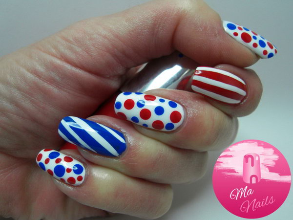 Patriotic Polka Dots and Stipes Nail Art
